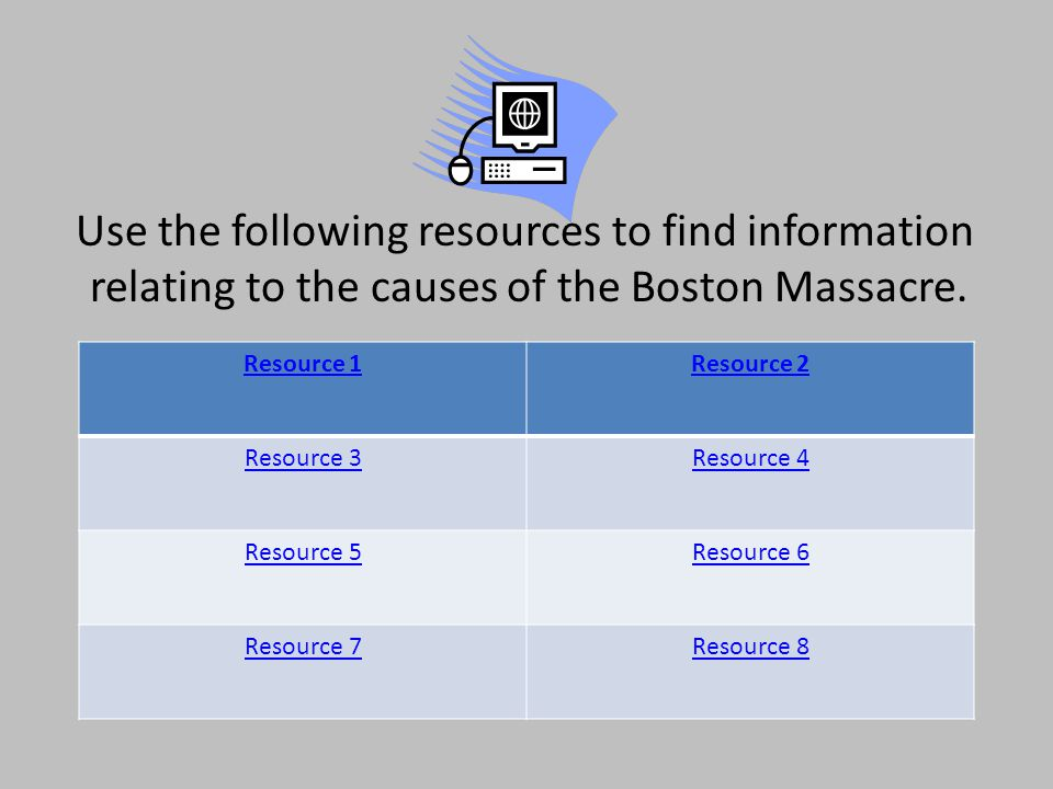 Use the following resources to find information relating to the causes of the Boston Massacre.