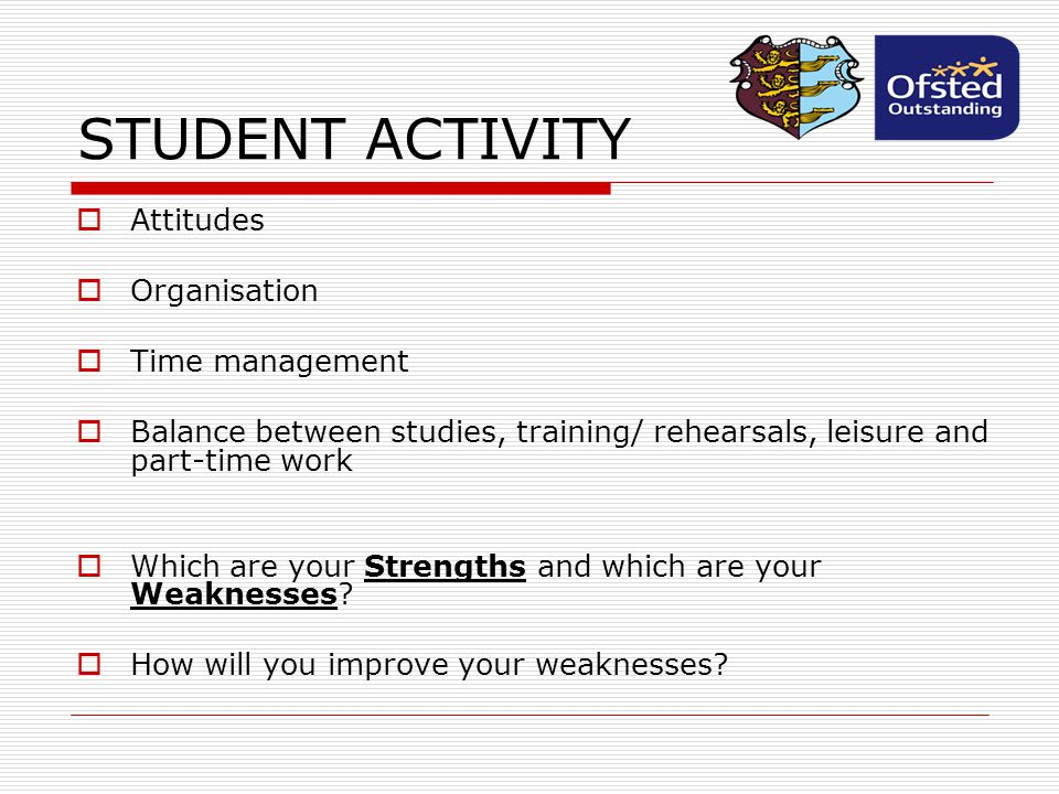 STUDENT ACTIVITY Attitudes Organisation Time management