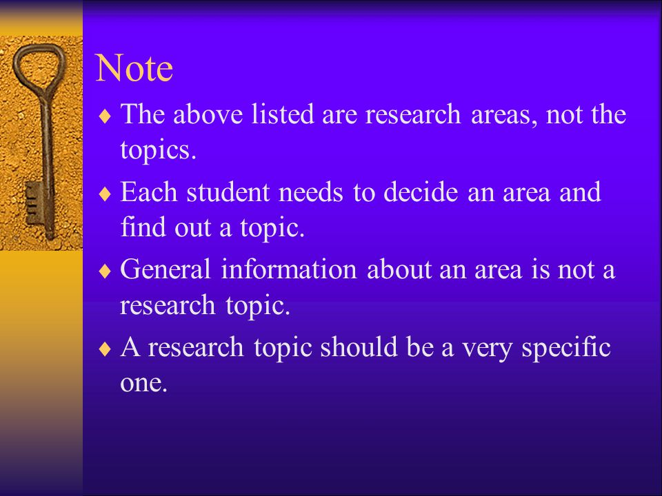 Note The above listed are research areas, not the topics.