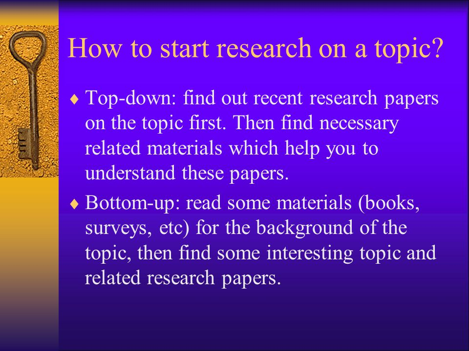 How to start research on a topic