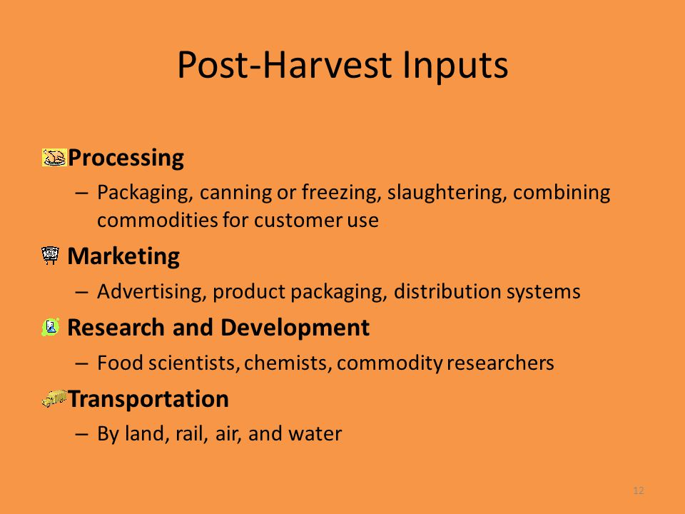 Post-Harvest Inputs Processing Marketing Research and Development