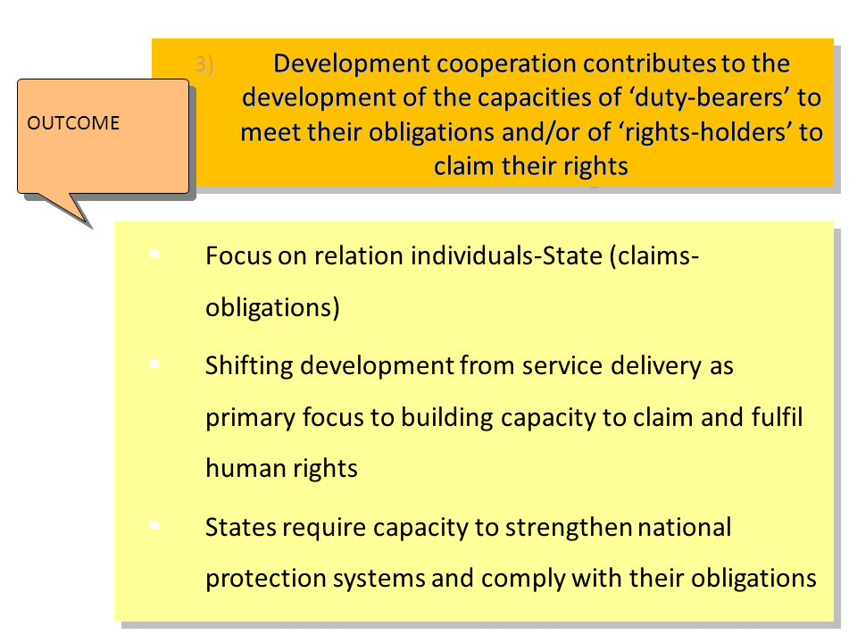 Focus on relation individuals-State (claims-obligations)