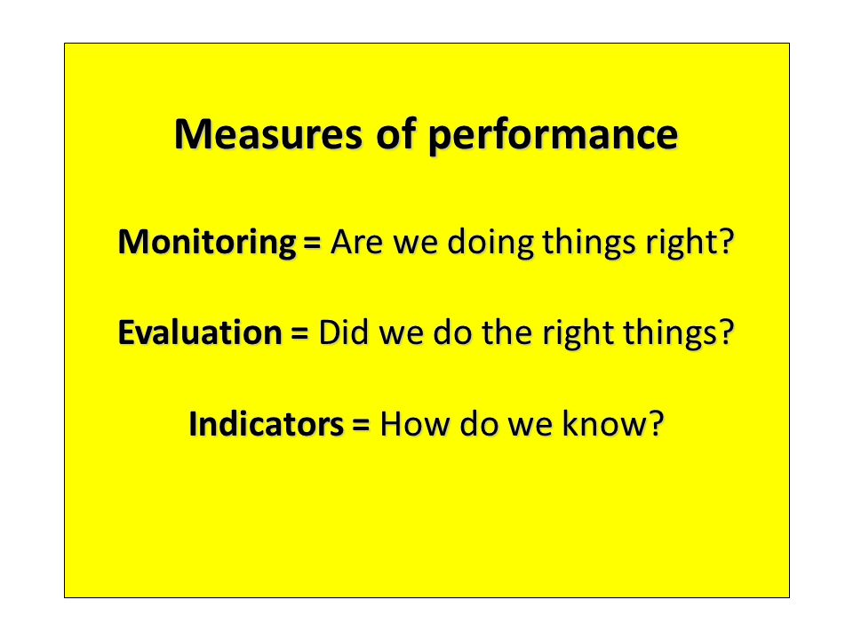 Measures of performance Monitoring = Are we doing things right