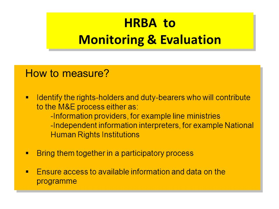 HRBA to Monitoring & Evaluation