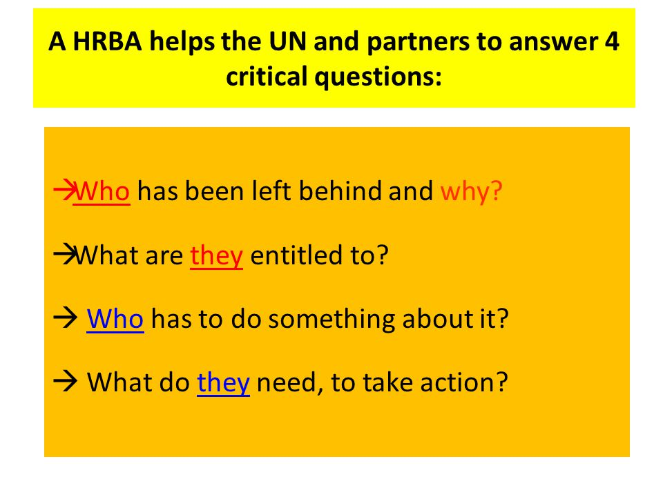 A HRBA helps the UN and partners to answer 4 critical questions:
