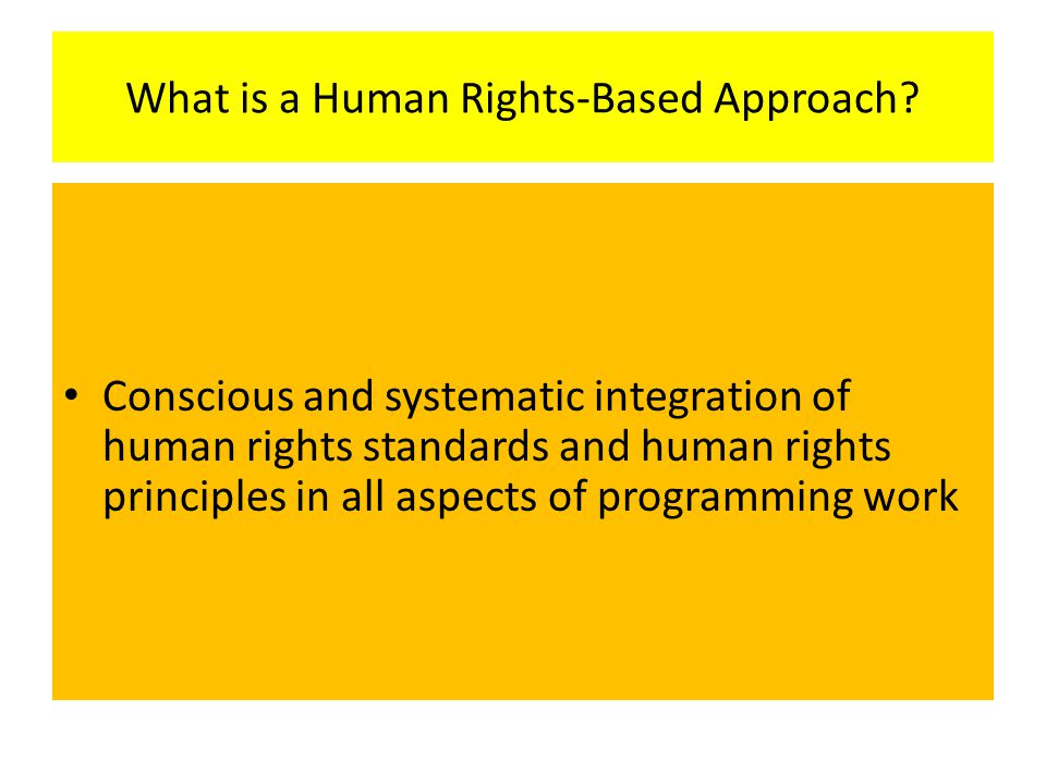 What is a Human Rights-Based Approach
