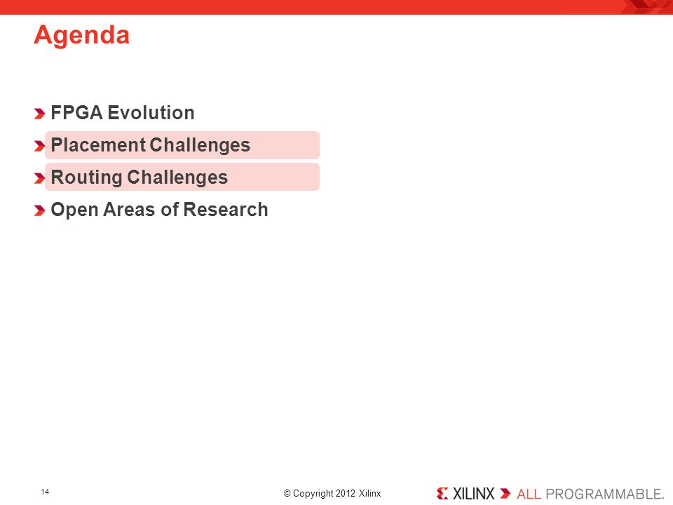 Agenda FPGA Evolution Placement Challenges Routing Challenges