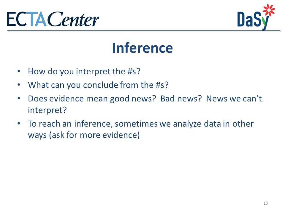 Inference How do you interpret the #s