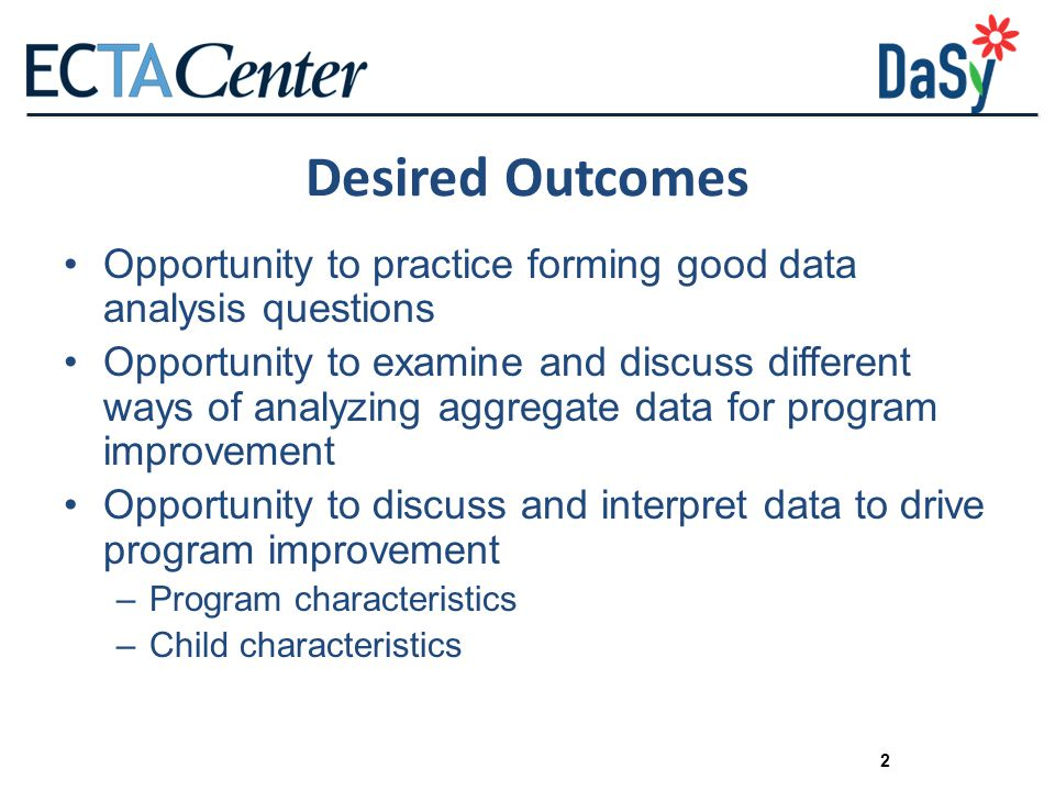 Desired Outcomes Opportunity to practice forming good data analysis questions.