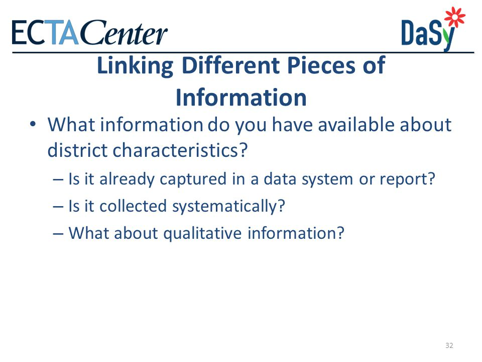 Linking Different Pieces of Information