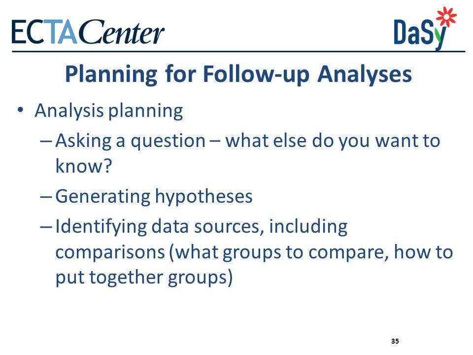 Planning for Follow-up Analyses