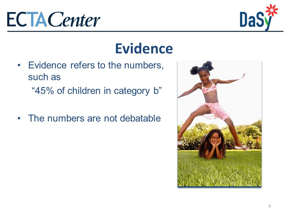 Evidence Evidence refers to the numbers, such as
