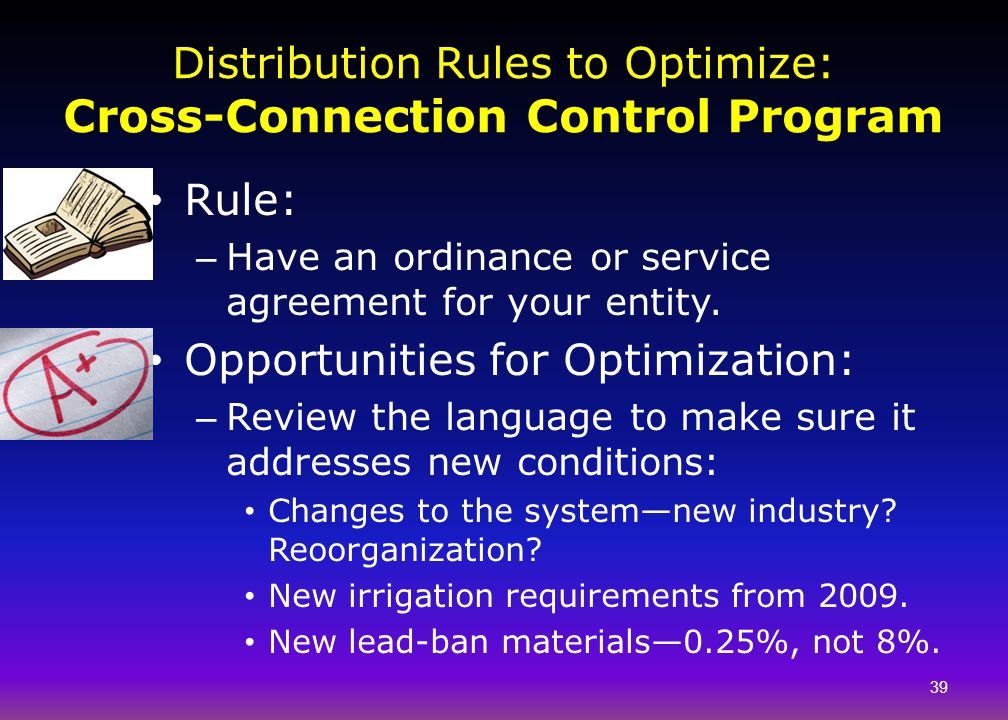 Distribution Rules to Optimize: Cross-Connection Control Program