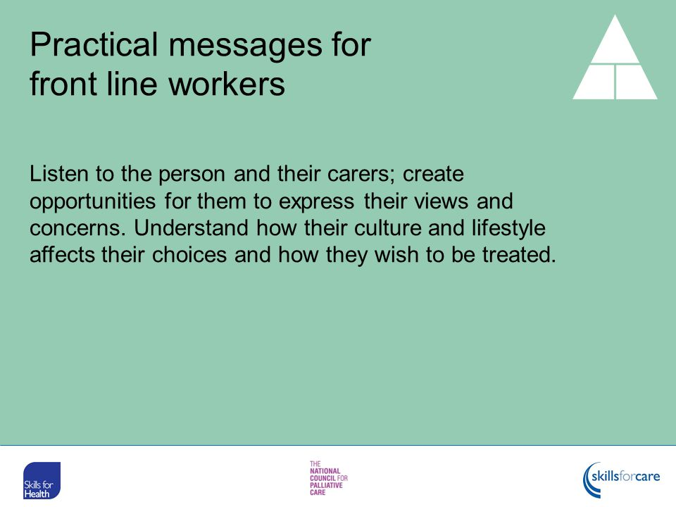 Practical messages for front line workers