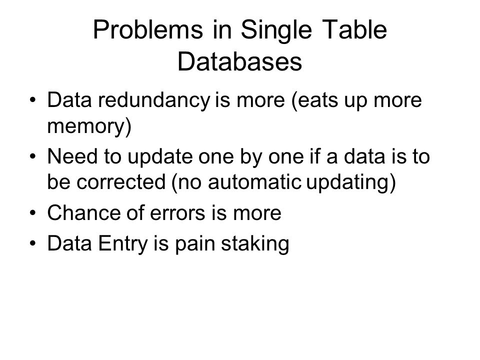 Problems in Single Table Databases