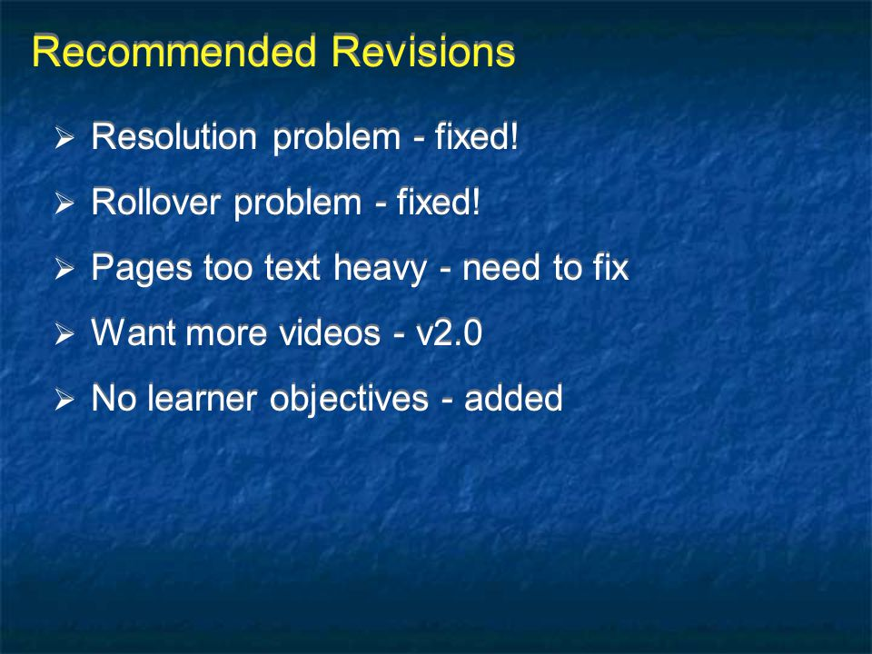 Recommended Revisions