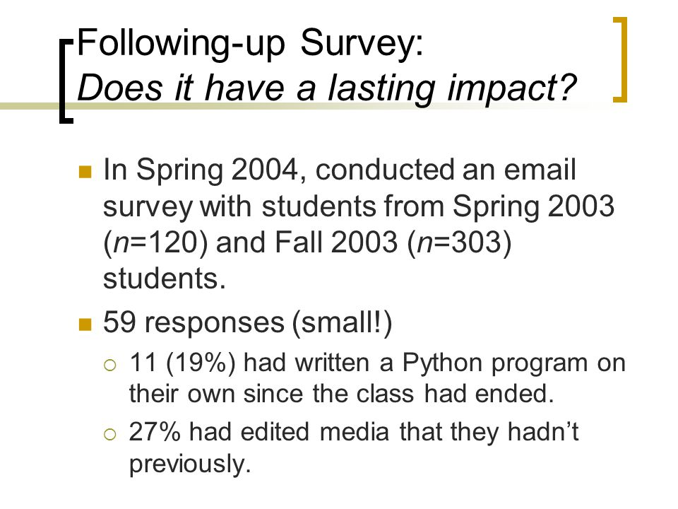 Following-up Survey: Does it have a lasting impact