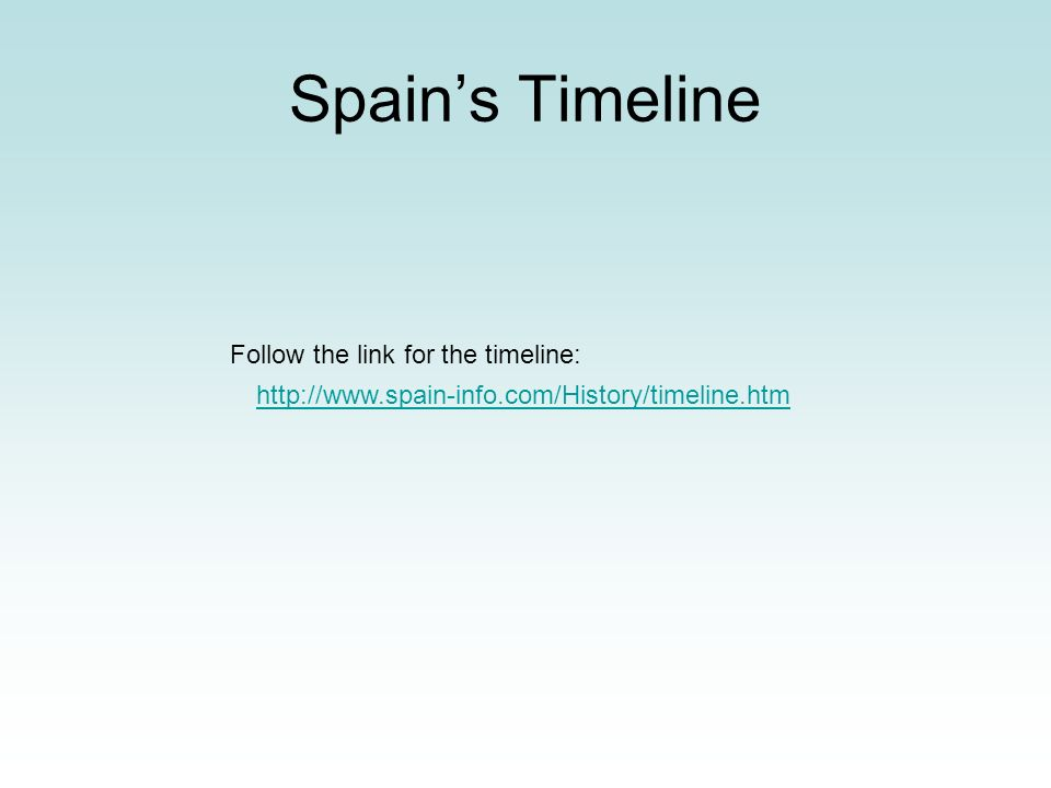Spain's Timeline Follow the link for the timeline: