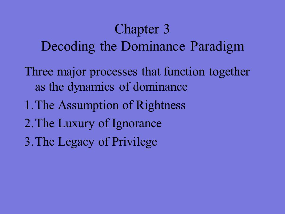 Chapter 3 Decoding the Dominance Paradigm