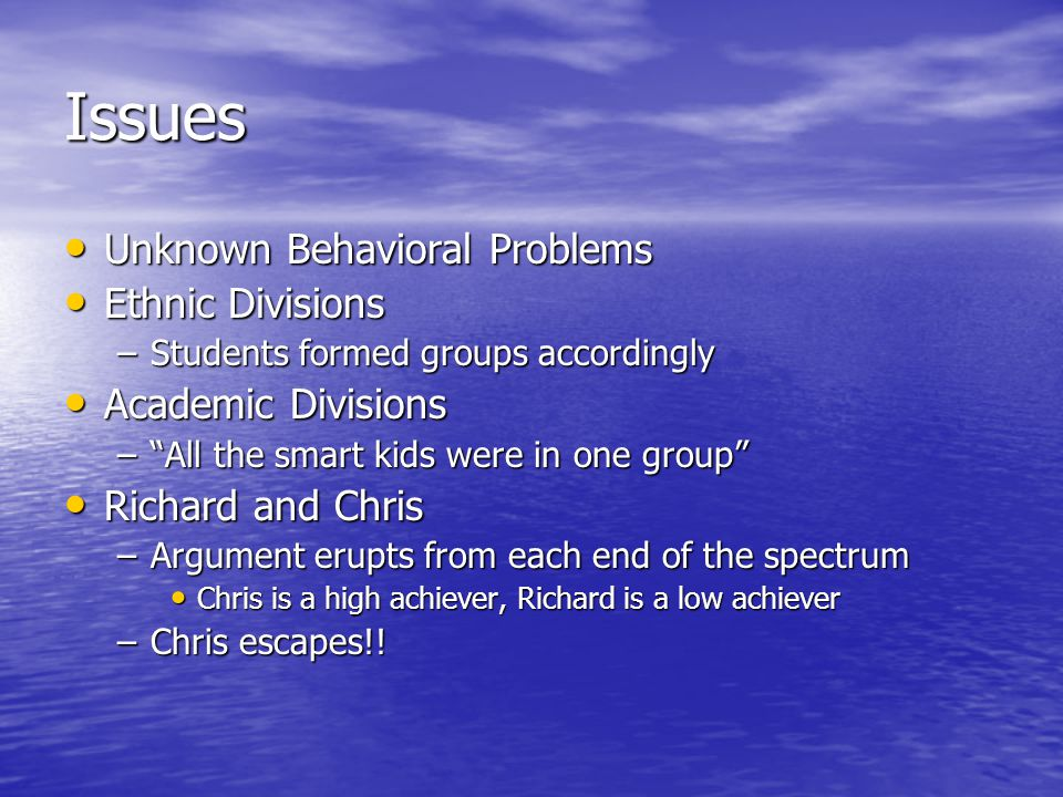 Issues Unknown Behavioral Problems Ethnic Divisions Academic Divisions