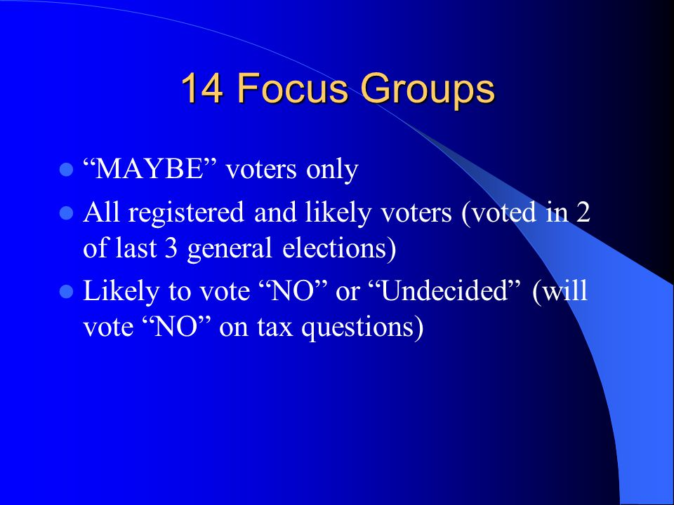 14 Focus Groups MAYBE voters only