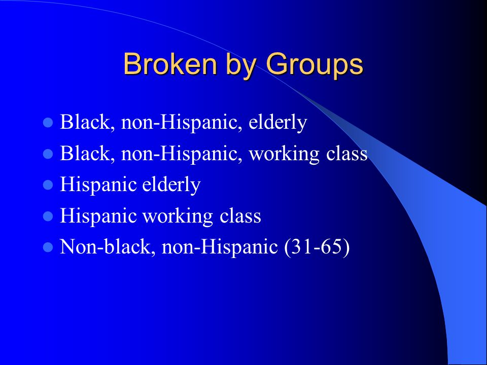 Broken by Groups Black, non-Hispanic, elderly