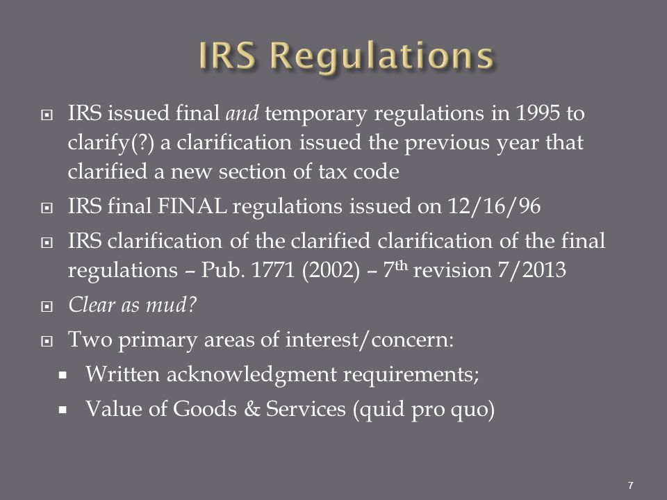 Irs charitable gifts quid pro quo sexual harassment