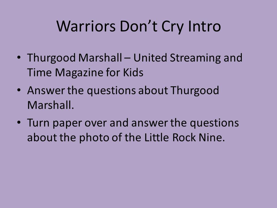 warriors don t cry questions