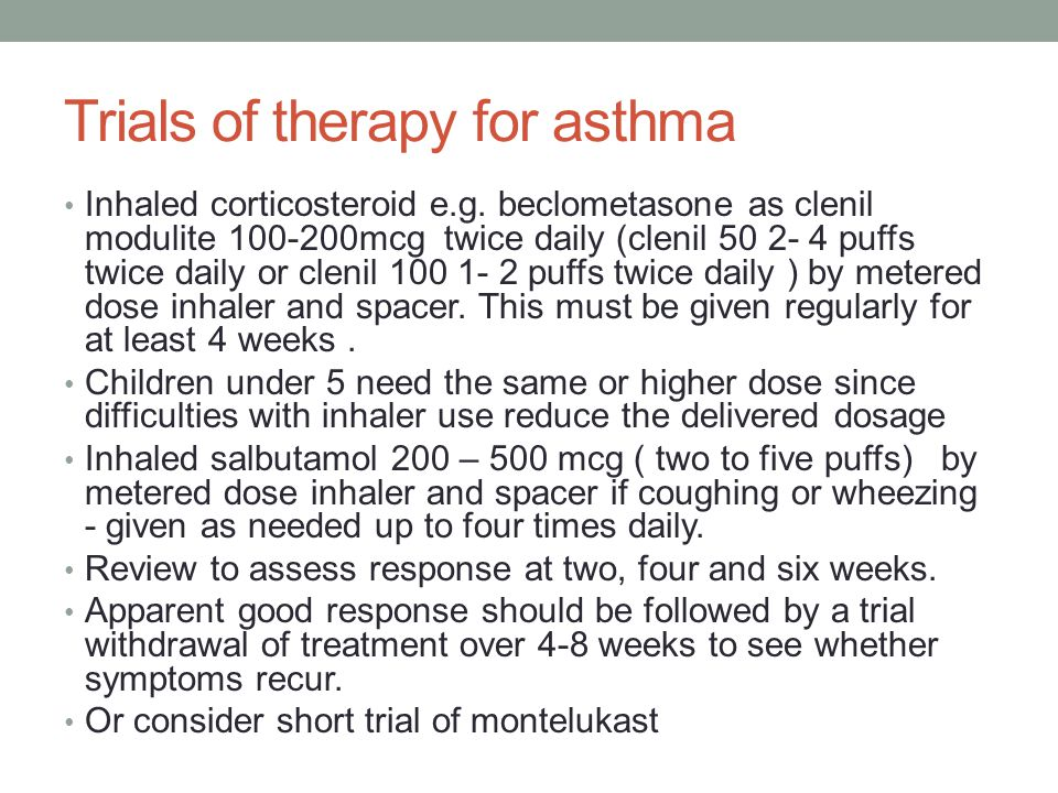 Trials of therapy for asthma