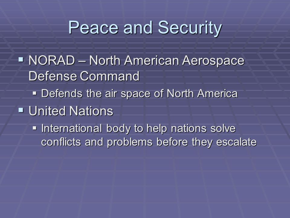 Peace and Security NORAD – North American Aerospace Defense Command