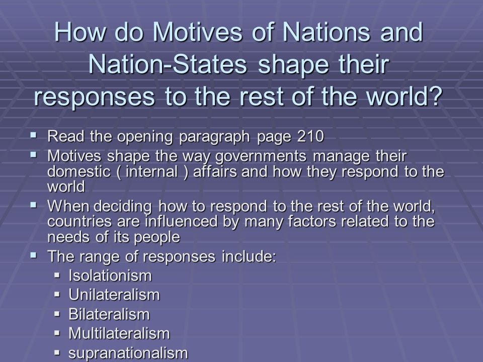 How do Motives of Nations and Nation-States shape their responses to the rest of the world