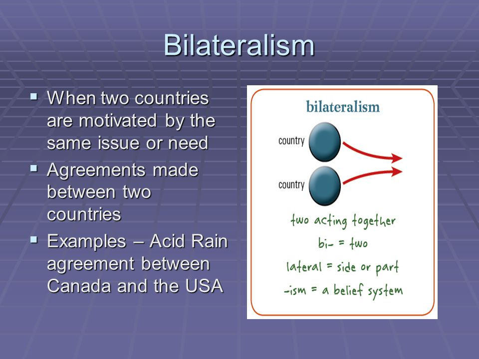 Bilateralism When two countries are motivated by the same issue or need. Agreements made between two countries.