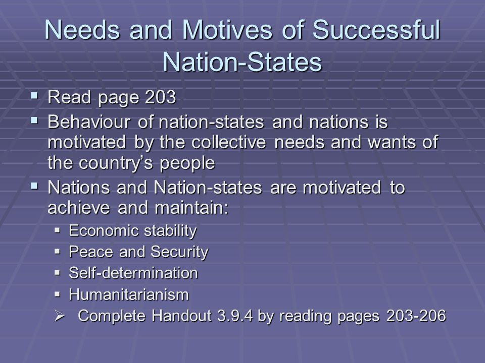 Needs and Motives of Successful Nation-States