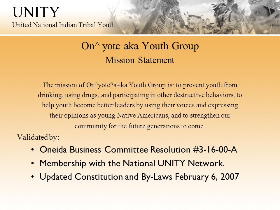 UNITY United National Indian Tribal Youth