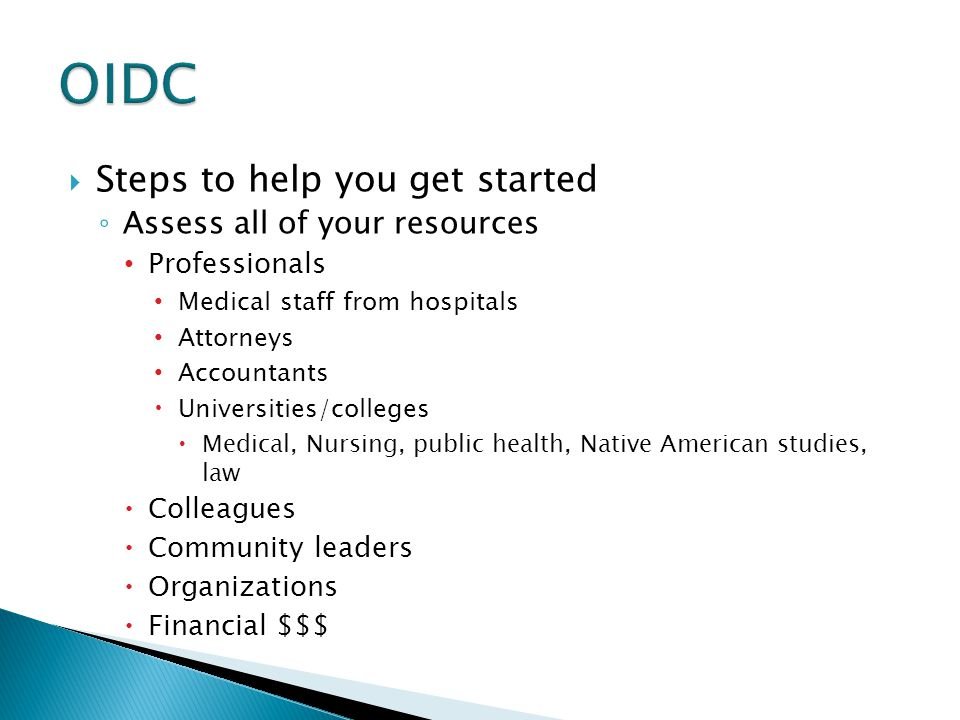OIDC Steps to help you get started Assess all of your resources