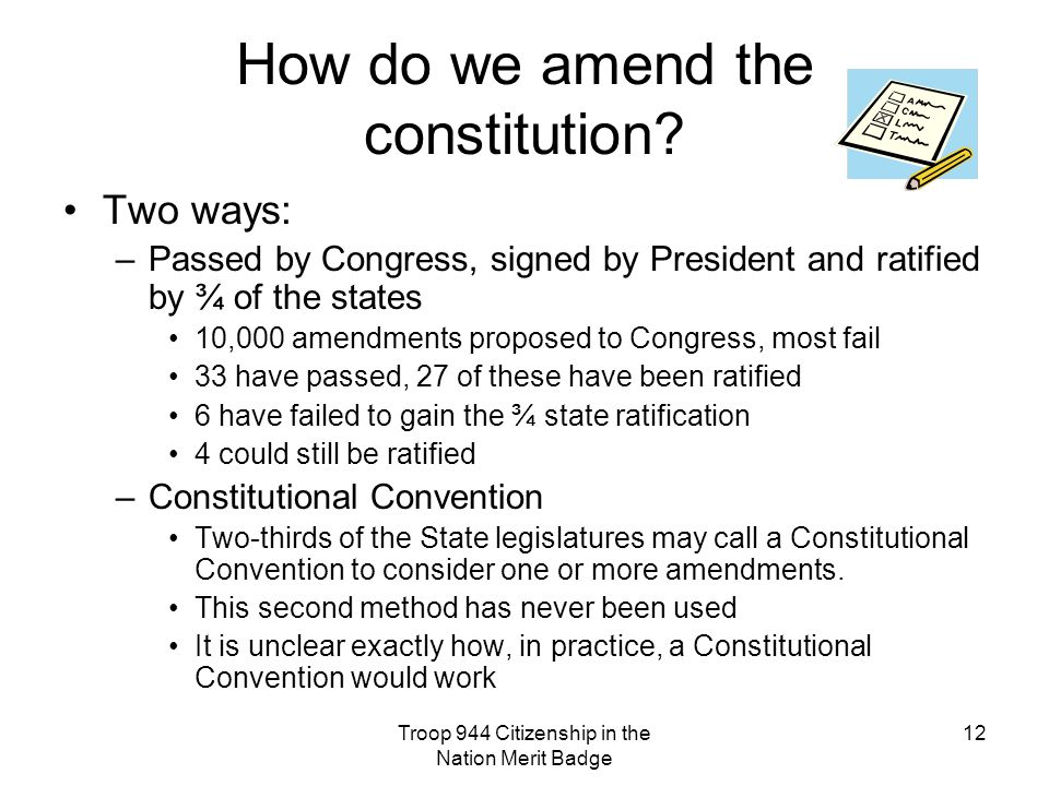 How do we amend the constitution