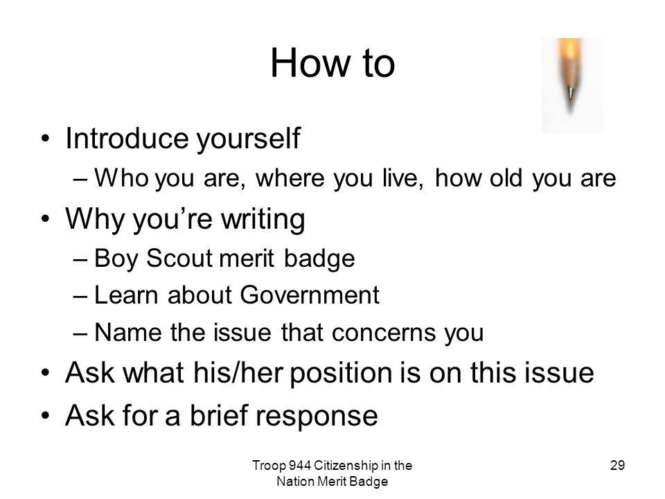 Troop 944 Citizenship in the Nation Merit Badge