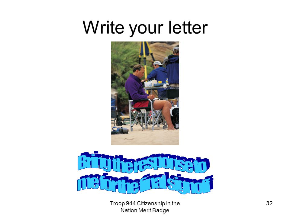 Write your letter Bring the response to me for the final signoff