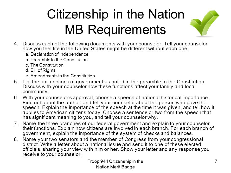 Citizenship in the Nation MB Requirements