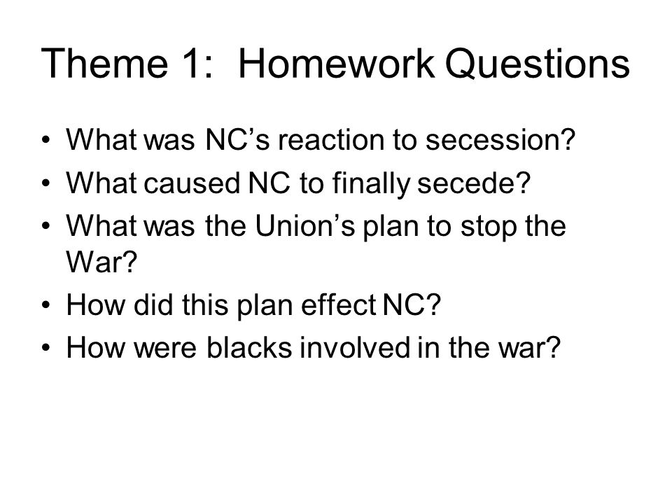 Theme 1: Homework Questions