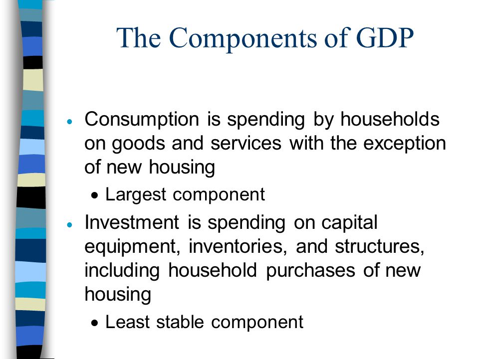 The Components of GDP Consumption is spending by households on goods and services with the exception of new housing.