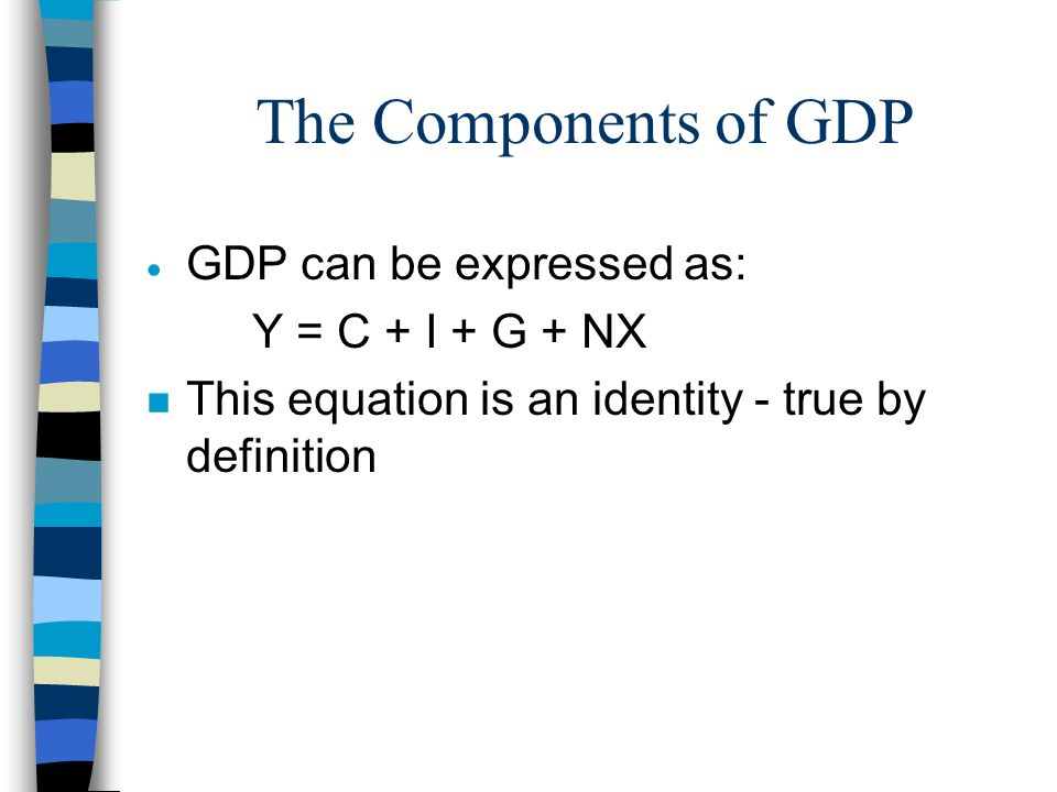 The Components of GDP GDP can be expressed as: Y = C + I + G + NX