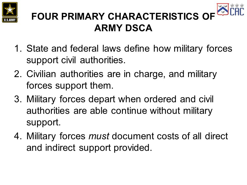 Four Primary Characteristics of Army DSCA