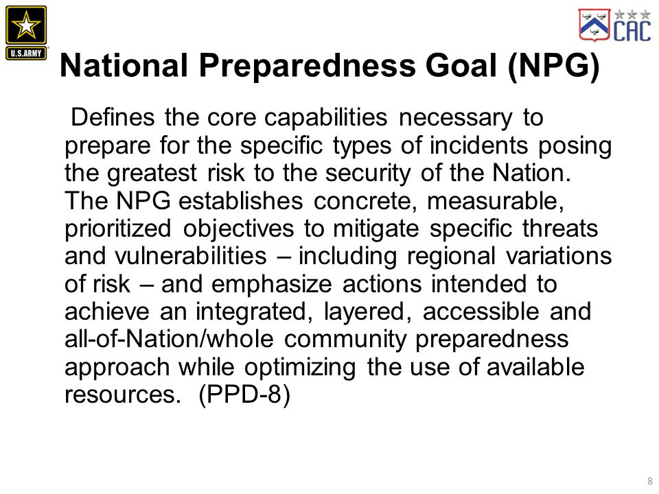 National Preparedness Goal (NPG)