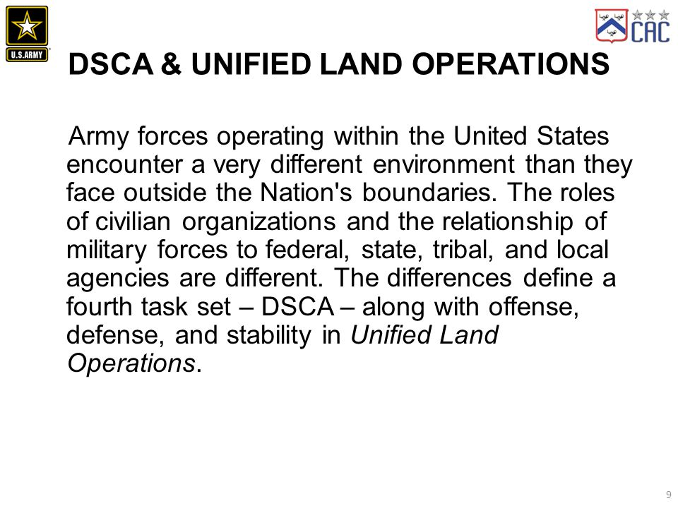DSCA & Unified Land Operations