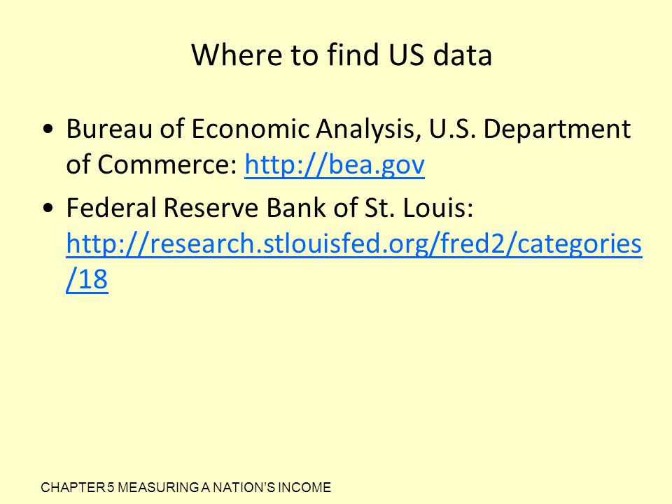 Where to find US data Bureau of Economic Analysis, U.S. Department of Commerce: http://bea.gov.
