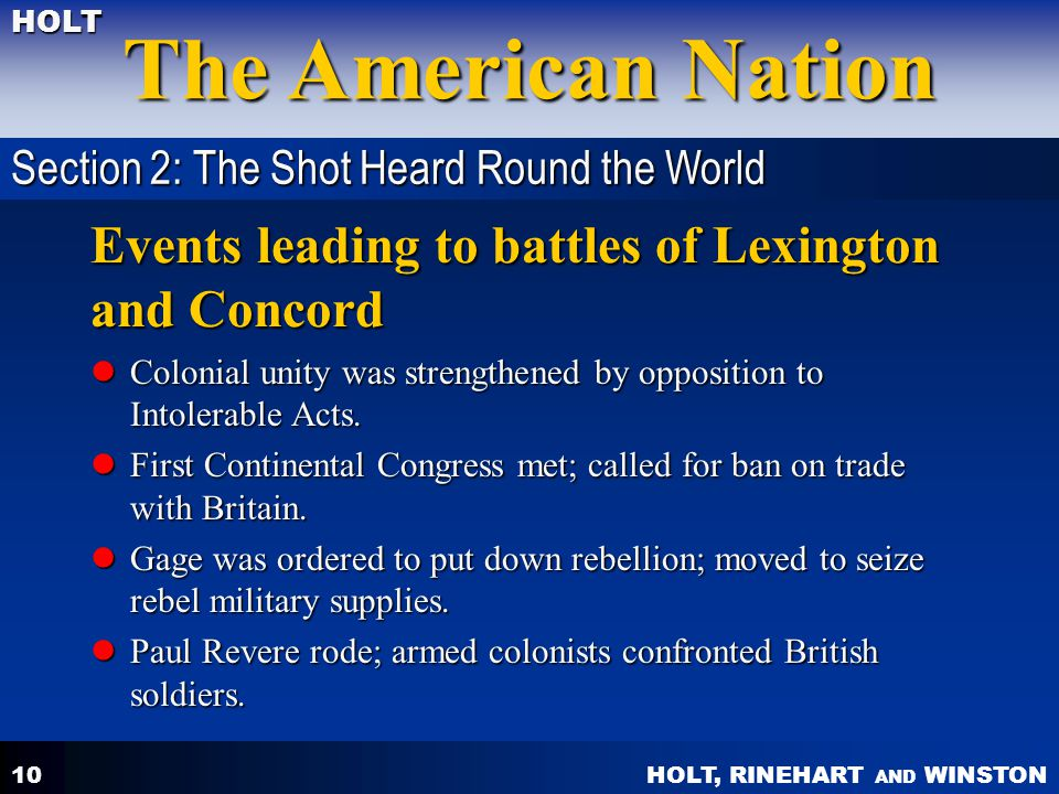 Events leading to battles of Lexington and Concord