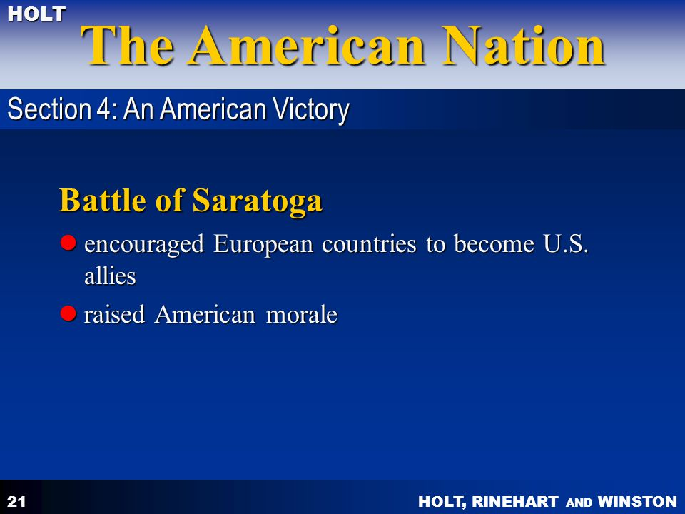 Battle of Saratoga Section 4: An American Victory