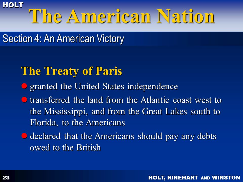 The Treaty of Paris Section 4: An American Victory