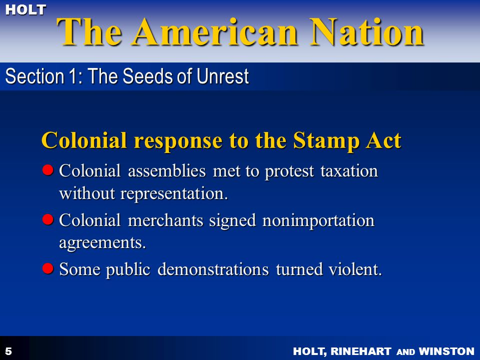 Colonial response to the Stamp Act